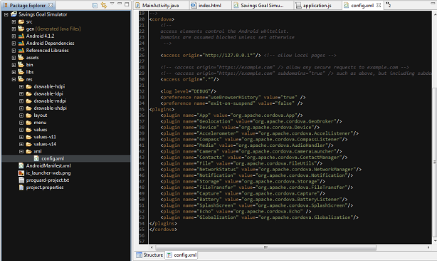 Adding the Cordova xml folder to the project