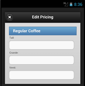 Regular Coffee Pricing Shell