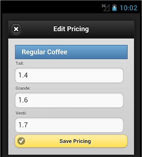 Save Pricing Button