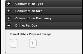 Collapsible Drinks Per Day Panel